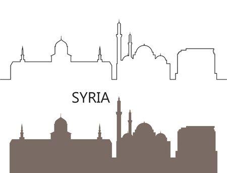 Syria logo. Isolated Syria architecture on white background