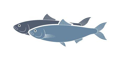 Herring logo. Isolated herring on white background