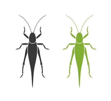 Grasshopper logo. Isolated grasshopper on white background
