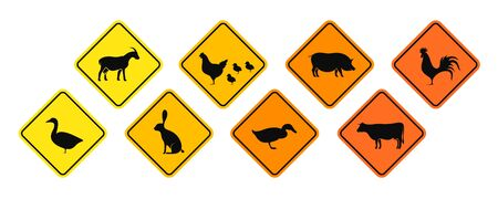 Village animals road sign. Isolated village animals on white background