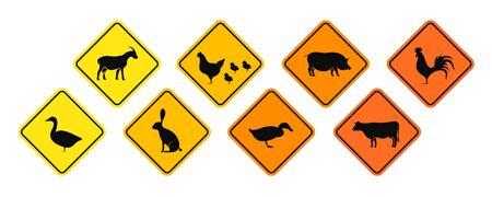 Village animals road sign. Isolated village animals on white background