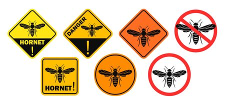 Hornet danger sign. Isolated hornet on white background. Wasp Vectores