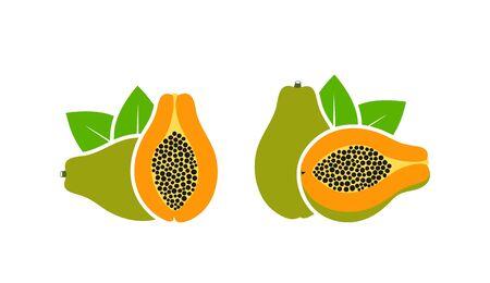 Papaya logo. Isolated papaya on white background Illustration