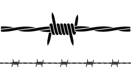 Barbed wire. Isolated barbed wire on white background Vettoriali