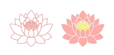 Lotus flower outline. Isolated lotus on white background