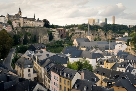 Luxembourg - old town part, shot from the hill  Editorial