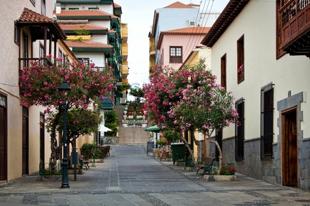 Street of beautiful old town of Puerto de la Cruz, Tenerife, Canary Islands, Spain Banco de Imagens