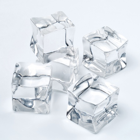 Group of ice cubes shot on plain white background Banco de Imagens