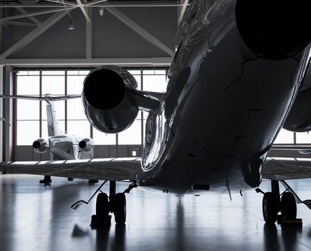 Luxorious Business Jets in Hangar