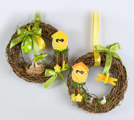 chicks: Easter wreath with eggs and Chicks