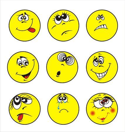 set of nine smileys Illustration