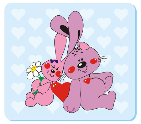 Rabbits in love 2. Vector illustration to Valentines Day Illustration