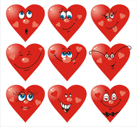 Set of nine vector heart smiles to Valentine`s day Illustration