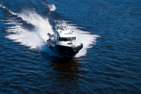 Aerial view of a speeding power boat