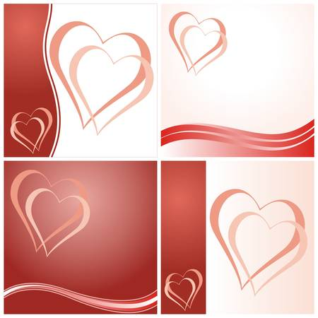 Set of four Valentines day cards with hearts. Vector illustration.