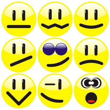 Set of nine yellow smilies. illustration.