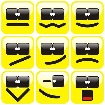 Set of nine yellow terminator smilies. illustration. Vector