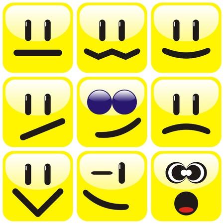 Set of nine yellow smileys. Vector illustration. Stock Vector - 8564033