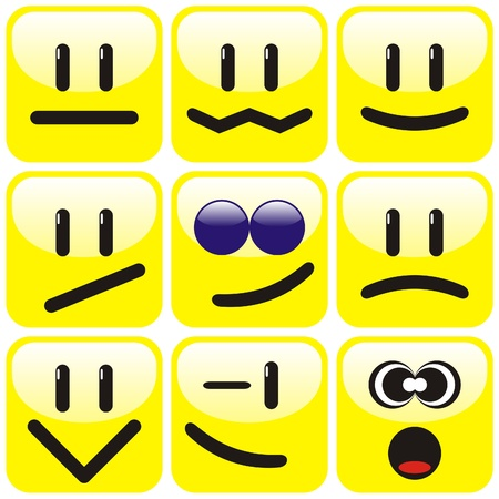 Set of nine yellow smileys. Vector illustration. Vector