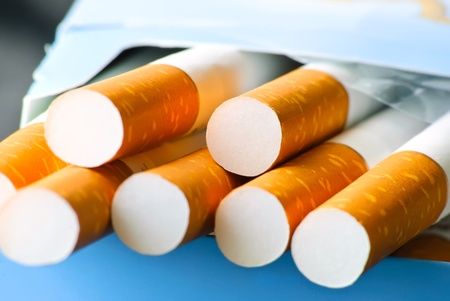 Close-up of pack of cigarettes. Macro. Stock Photo