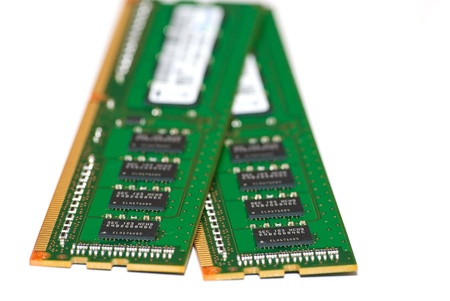 Computer RAM memory cards. Close-up over white. Stock Photo