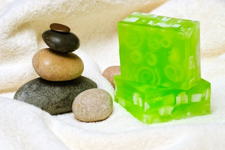 Natural Handmade Soap on a white towel. Stock Photo