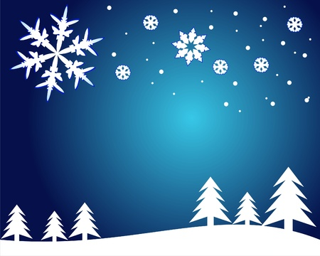 Vector Christmas Card with snowflakes. Vector Illustration.