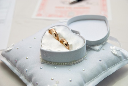 Two wedding rings in a heart-shaped box photo
