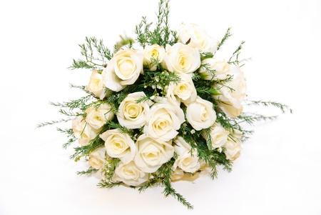 bruidsboeket: Bruids boeket van witte rozen Stockfoto