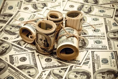 Die Rollen der US Federal Reserve Notes 100 $. Old style Foto.