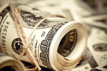 Die Rolle der US-Federal Reserve Notes 100 $. Old style Foto.