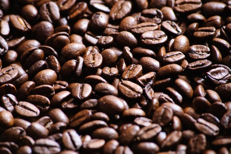 Close-up of roasted coffee beans.