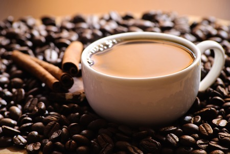 Tasse Kaffee und Stück Schokolade und Zimt Lizenzfreie Bilder