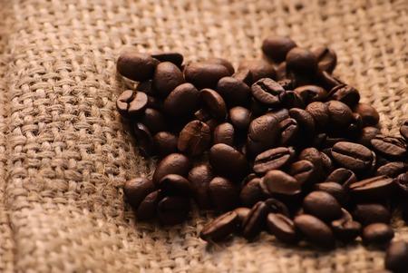 Nahaufnahme von gerösteten Kaffeebohnen. Lizenzfreie Bilder