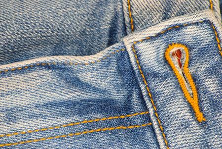 Old blue denim jeans. Close up view.