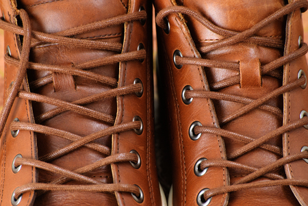 Brown sport shoes with laces. Close up view. Stock Photo