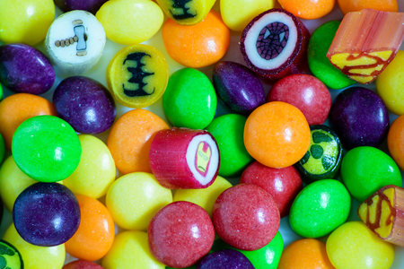 Colorful sweets or candies. Close-up top view.