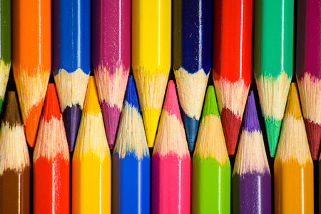 Colorful pencils. Close-up top view. Stock Photo