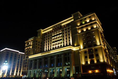 MOSCOW, RUSSIA APRIL 30, 2017: Four Seasons Hotel Moscow at night. The Four Seasons Hotel Moscow is a modern luxury hotel, opening on October 30, 2014, with a facade that replicates the historic Hotel Moskva.