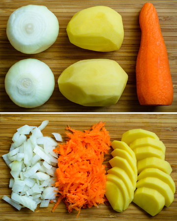 Soup ingredients: sliced potatoes, onions and carrots. Close-up top view. Stock Photo