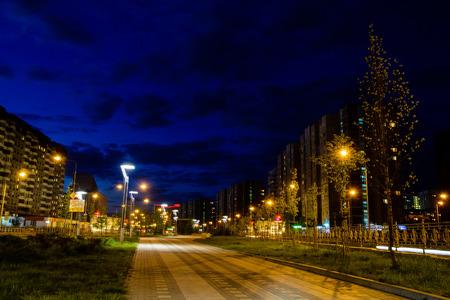 Blick auf den Nachtboulevard mit leuchtenden Straßenlaternen