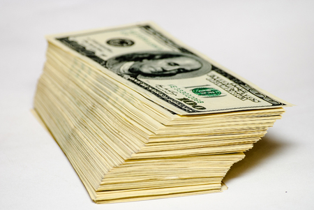 The pile of US federal reserve notes $100. Stock Photo
