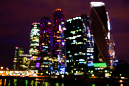 Unscharfsichtige Ansicht des International Business Center Moskau Stadt. Nachtszene. Lizenzfreie Bilder