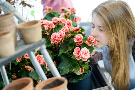 Young happy teenage girl sniffing a rose in a flower shop