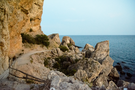 Beautiful Crimean landscape, Black Sea and mountain views. Summer nature landscape for travel and rest.
