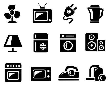 black appliances: Elettronica per la casa, icona, set Vettoriali