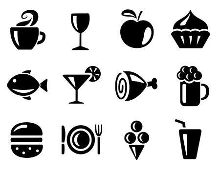piatto cibo: Cibo e bevande icon set Vettoriali
