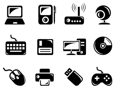 Hardware icon set Vector