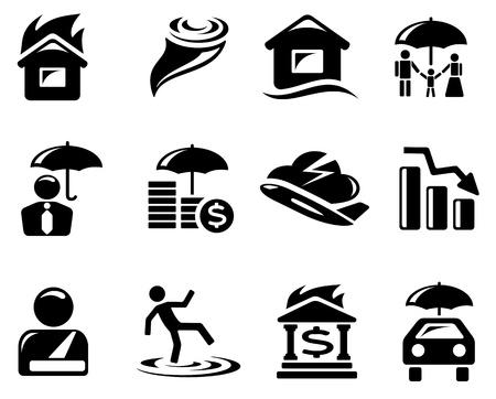seguros autos: Seguro conjunto de iconos Vectores