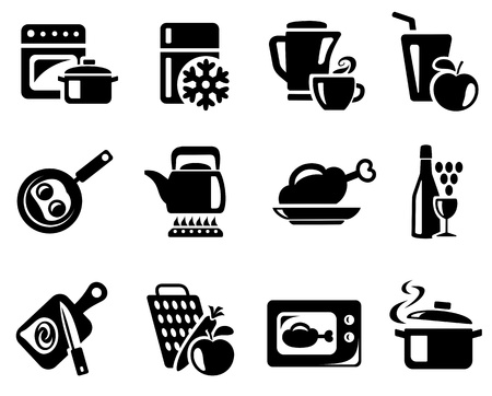 Cocina y conjunto de iconos de cocina Ilustración de vector